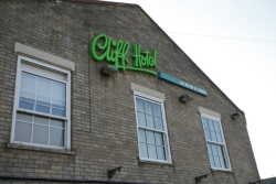 A photo of the front of the cliff hotel